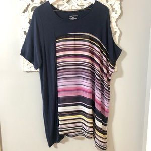 Lane Bryant Navy Striped Sheer 14/16 Tunic Top
